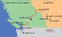 Vancouver to Calgary bus rout map